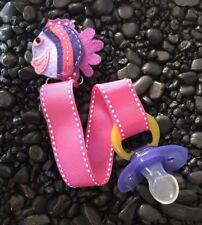 FISH Ribbon Pacifier holder clip strap, binky, paci leash-Handmade-Free Ship