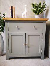 Grey Painted Small Sideboard / 2 Door Mini Cupboard / Solid Wood Cabinet Oak Top