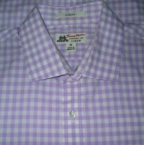 J. CREW THOMAS MASON Ludlow Shirt Size M Button Front Purple White Check