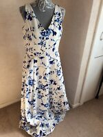 Ralph Lauren Ladies blue whit floral sleeveless long lined dress size UK 16 belt