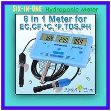HYDROPONICS METER  ( 6 in 1 Continuous Water Tester  - ph ppm temp tds ec cf )