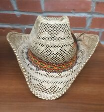 Vintage Straw Cowboy Hat Embroidered Trim Feather Large Mens Made In USA