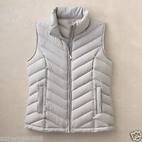New $100 TravelSmith Women's Packable Down Chevron Vest - 90% Down, Silver
