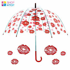 RED LIPS KISS UMBRELLA CLEAR TRANSPARENT DOME RAIN WOMEN PARASOL WEDDING NEW