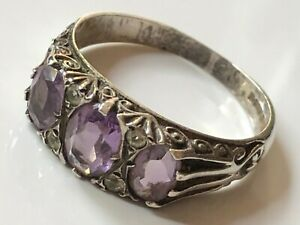 Vintage 1979 sterling silver and amethyst/clear stone gypsy ring band size T