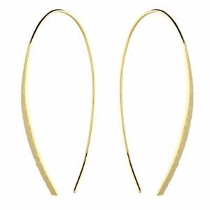 Sterling Silver Earring Yellow Gold Plated Diamond Cut Tapered Bar Pull Through
