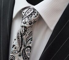 Tie Neck tie Slim White with Paisley Quality Cotton T6160