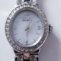 Citizen Eco Drive Rhinestone Accented Bezel & Bracelet Ladies Watch 8023-S055601