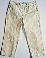 Dockers Women's Natural Khaki/Tan Striped Capris Size 4