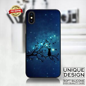 Night Cat Tree aurora Sky Phone Case Samsung Galaxy S10 S9 Huawei iPhone Case