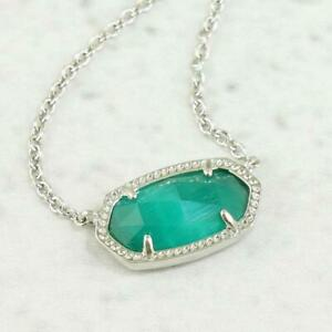 NWT Kendra Scott Elisa Cat's Eye Emerald Green Necklace Silver Tone