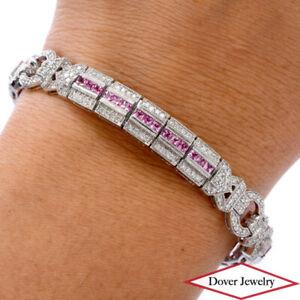 Estate Diamond 4.45ct Pink Sapphire 14K Gold Pave Milgrain Bracelet 24.4 Gram NR