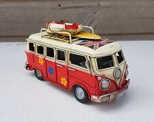 VW Style Camper Van Rustic Shabby Tin Metal Model Ornament 16cm