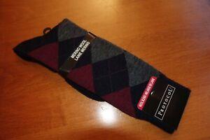 *NEW* NWT Protocol 7-12 Shoe Size MERINO WOOL Thin Socks DIAMOND Design BLACK 11