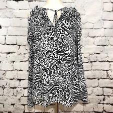NWT MICHAEL Michael Kors Big Cat Animal Print Cold Shoulder Ruffle Top Size S