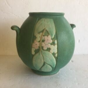 Vintage Weller Pottery Velva 1928-33 Green Art Deco Handled Circular  Vase