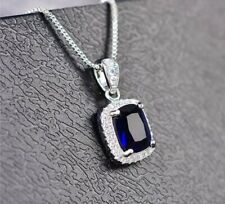 ZARD Royal Blue Cubic Zirconia Emerald-Cut Halo Pendant Sterling Silver Necklace