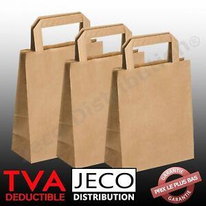 Sacs papier kraft brun doggy bag à soufflet poignée plate 22x10x28cm 6 litres