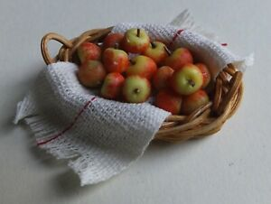 Dolls house miniatures: wooden basket of apples, handcrafted