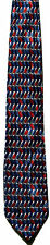 Men's New Neck Tie, silk, Blue Red Gray shapes in horizontal stripes