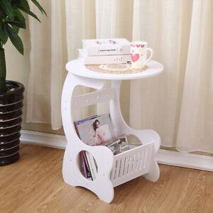 White Modern Round Coffee Tea Table Side/End Garden Home Storage Rack Lamp Shelf