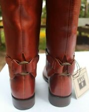 NWT FRYE Maxine Loop BOOTS Tall, brick red, low heel, sz 10 discontinued AMAZING