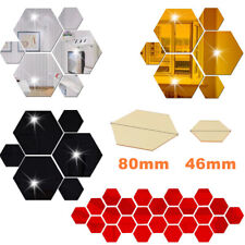 12Pcs 3D Hexagon Wall Stickers Mirror Removable Acrylic Art DIY Home Decor Decal