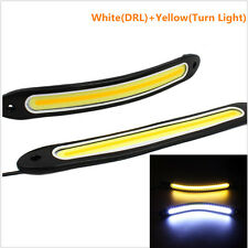2x Bright White/Yellow Car COB LED Lights DRL Fog Driving Lamp Waterproof DC 12V