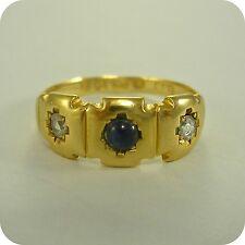 Vintage Sapphire & Diamond 18ct Gold Ring, hallmark 1924, September's Birthstone