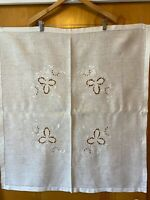"Beautiful Vintage Linen Hand Embroidered Cut Out Design Table Cloth 32"" X 34"""
