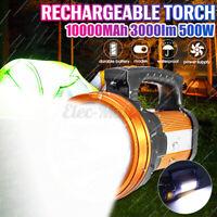 10000MAh 3000lm 500W Brillant Projecteur Rechargeable LED Torche Lampe de Poche