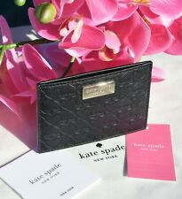 🌸Kate Spade Penn Place Embossed Graham Card Holder Leather Wallet Black New $68