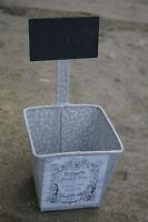 Kräutertopf mit Schild, Metall Übertopf 10 cm, Übertöpfe Shabby Chic Landhaus