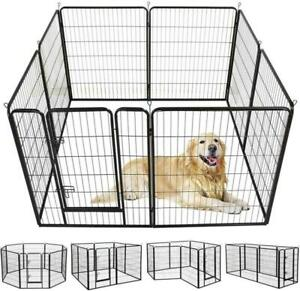 8 / 12 Panel Tall Folding Heavy Duty Metal Dog Playpen Exercise Pen Fence Kennel
