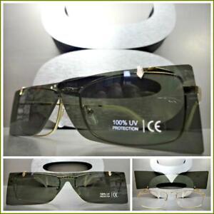 Mens or Women VINTAGE RETRO LUXURY DESIGNER Style SUN GLASSES Green Flip Up Lens