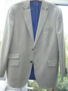SALE Mens M & S Luxury Collection JACKET 42-44in R Vtg Ltweight Wool Blue Grey