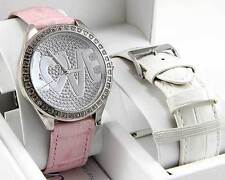 NEW GUESS PINK & WHITE LEATHER BAND SET,CRYSTALS,LOVE GLITZ HEART WATCH-U95140L1