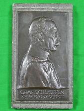 German Germany Wwi Ww1 1906 Graf Schlieffen General Oberst Bronze Plaque