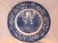 Staffordshire Liberty Blue Independence Hall Dinner Plate Dish Colonial Scenes