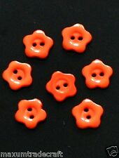 40pcs  flower 2 holes orange red nylon buttons approx 12mm