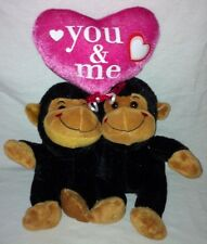 """Dan Dee Collectors Choice Brown Monkey Pair Plush 14"""" 'You & Me' Pink Heart Toy"""