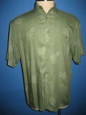 Campia Moda Green Floral Rayon Hawaiian Camp Shirt M NWOT
