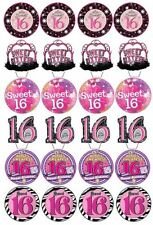 24 x SWEET SIXTEEN BIRTHDAY EDIBLE CUPCAKE/FAIRY CAKE TOPPERS 16th BIRTHDAY