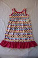 NEW Girls Sleeveless Dress Medium 7 - 8 Party Outfit Pink Yellow Chevron Striped