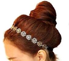 Gold Flower Headband Metal Flower Charms Hair Accessories Elastic Boho