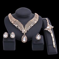 Women Gold/Plated Crystal Necklace Bangle Earring Ring Wedding Party Jewelry Set