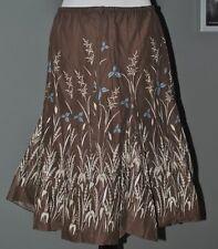 NWT $88 MAX STUDIO Skirt Brown Blue Beige Flowers A-Line 100%Cotton Sz S