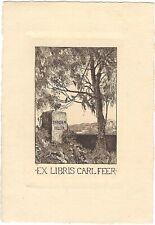 EMIL ANNER: Exlibris für Carl Feer, Tandem felix, Gedenksein, Baum