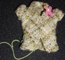 Barbie vintage Tweed Cap Veste à manches, cordon à la taille Bordure Fleur Rose Col Bordure
