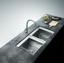 UNDER MOUNT STAINLESS STEEL KITCHEN SINK HANDMADE MODERN DESIGN TWO BOWEL 50/50